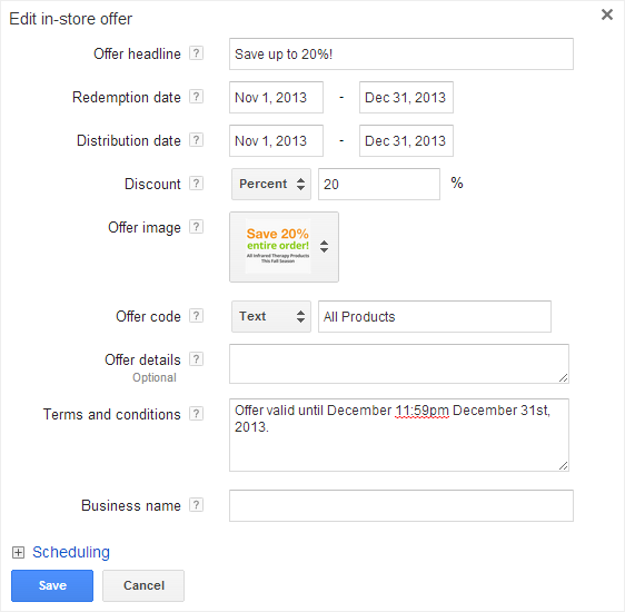google offer extensions settings window